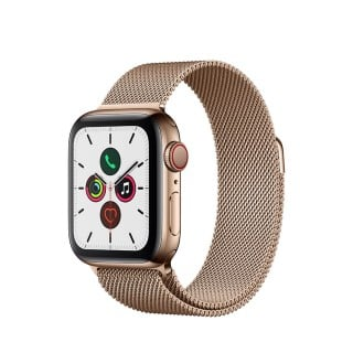 Apple Watch Series 5 (GPS + Cellular) Stainless Steel 40mm. Gold Stainless Steel Case  with Gold Milanese Loop