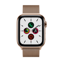 Apple Watch Series 5 (GPS + Cellular) Stainless Steel 44mm.Gold Stainless Steel Case  with Gold Milanese Loop