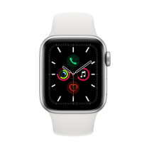 Apple Watch Series 5 (GPS + Cellular) Aluminium 40mm. Silver Aluminium Case with White Sport Band