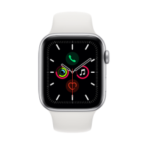 Apple Watch Series 5 (GPS + Cellular) Aluminium 44mm. Silver Aluminium Case with White Sport Band