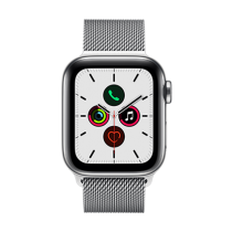 Apple Watch Series 5 (GPS + Cellular) Stainless Steel 40mm. Stainless Steel Case with Stainless Steel Milanese Loop