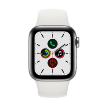 Apple Watch Series 5 (GPS + Cellular) Stainless Steel 40mm.Stainless Steel Case with White Sport Band