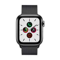 Apple Watch Series 5 (GPS + Cellular) Stainless Steel 40mm. Space Black Stainless Steel Case with Space Black Milanese Loop