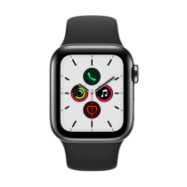 Apple Watch Series 5 (GPS + Cellular) Stainless Steel 40mm. Space Black Stainless Steel Case  with Black Sport Band
