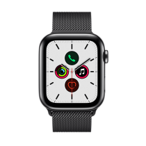 Apple Watch Series 5 (GPS + Cellular) Stainless Steel 44mm.Space Black Stainless Steel Case with Space Black Milanese Loop