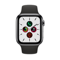Apple Watch Series 5 (GPS + Cellular) Stainless Steel 44mm.Space Black Stainless Steel Case  with Black Sport Band