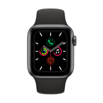 Apple Watch Series 5 (GPS + Cellular) Aluminium 40mm. Space Grey Aluminium Case with Black Sport Band