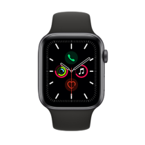 Apple Watch Series 5 (GPS + Cellular) Aluminium 44mm. Space Grey Aluminium Case with Black Sport Band