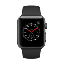 Apple Watch Series 3 Aluminum (GPS + Cellular) -38 mm. Space Grey Aluminium Case with Black Sport Band