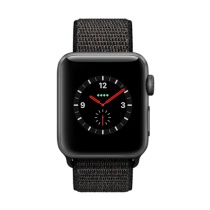 Apple Watch Series 3 Aluminum (GPS + Cellular) - 38 mm. Space Grey Aluminium Case with Black Sport Loop